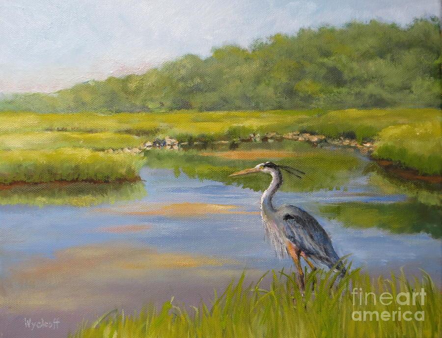 Blue Heron Painting - The Millway Marsh by Karol Wyckoff