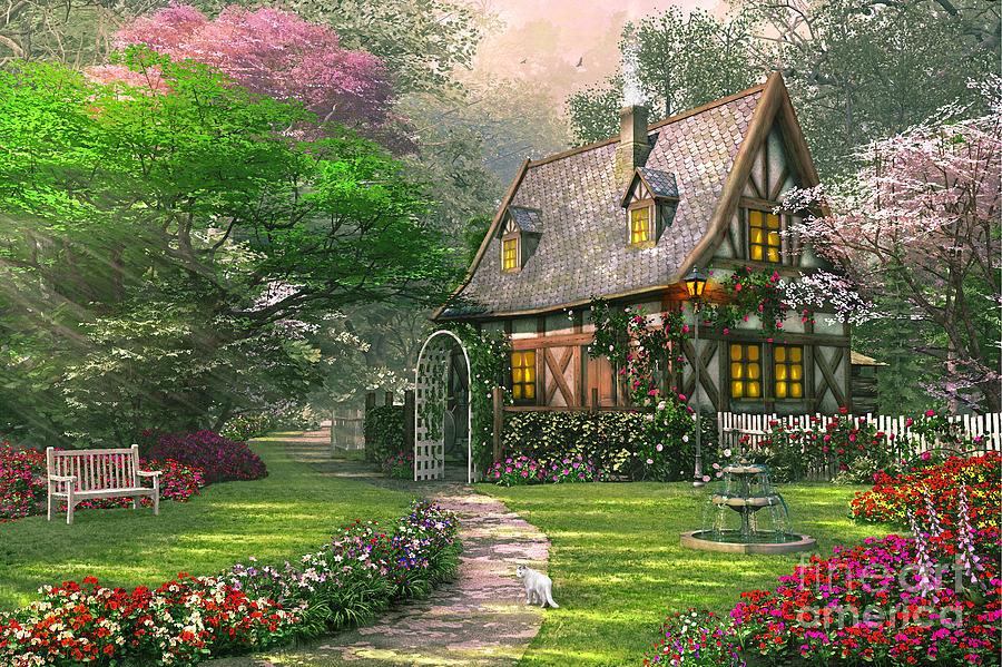 The Misty Lane Cottage Digital Art