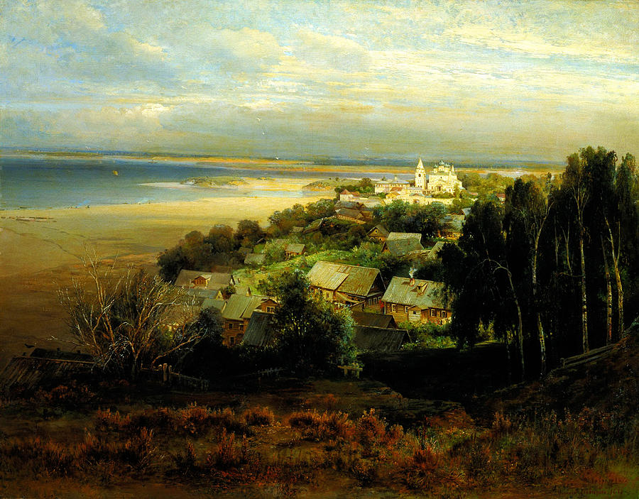 The monastery of the caves near nizhny novgorod 1871 painting