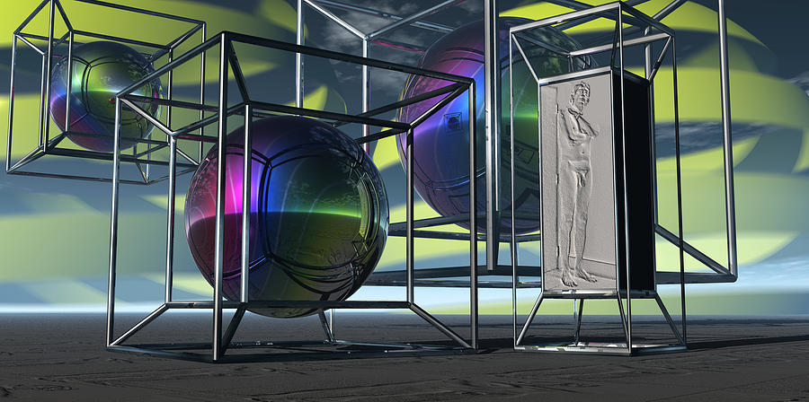 The Monument Of A Naked Man In The Geometry Of God Digital Art