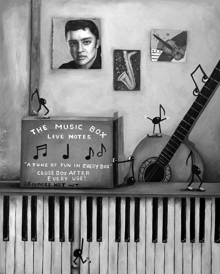 Music Painting - The Music Box Bw by Leah Saulnier The Painting Maniac