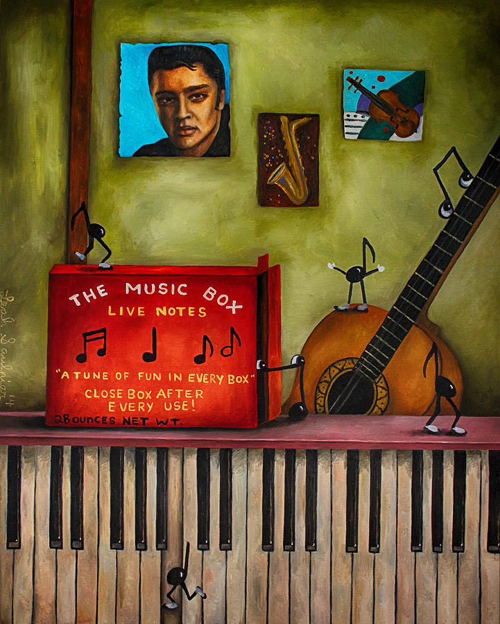 Music Painting - The Music Box Edit 3 by Leah Saulnier The Painting Maniac