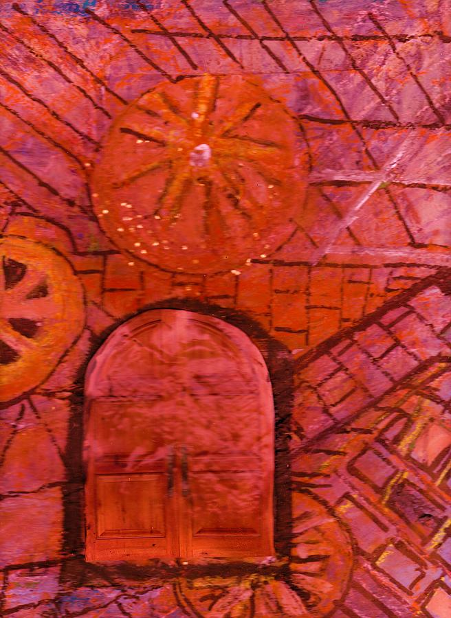 Abstract Mixed Media - The Mysterious Door by Anne-Elizabeth Whiteway