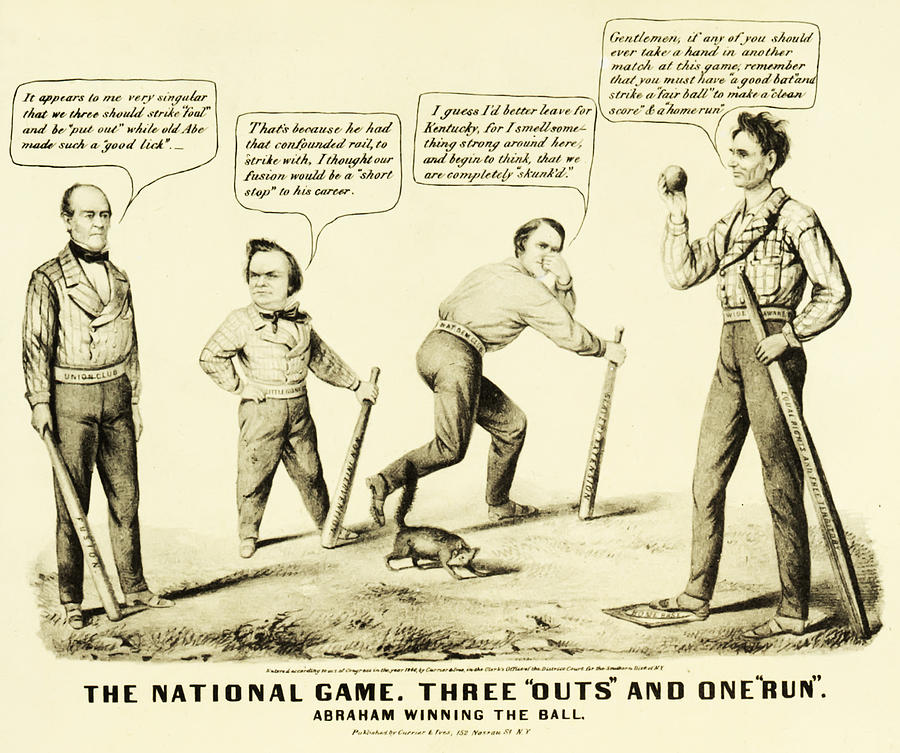 The National Game - Abraham Lincoln Plays Baseball Drawing  - The National Game - Abraham Lincoln Plays Baseball Fine Art Print