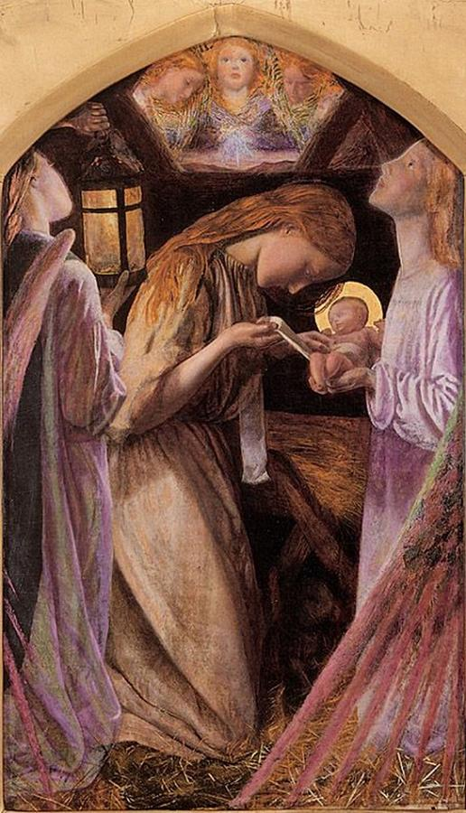 The Nativity With Angel Painting  - The Nativity With Angel Fine Art Print