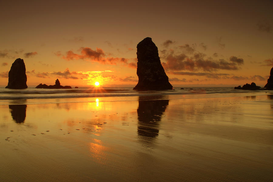 Sunset At The Needles At Haystack Rock Cannon Beach Oregon Coast Seascape Silhouette Photograph - The Needles At Haystack - Cannon Beach Sunset  by Brian Harig