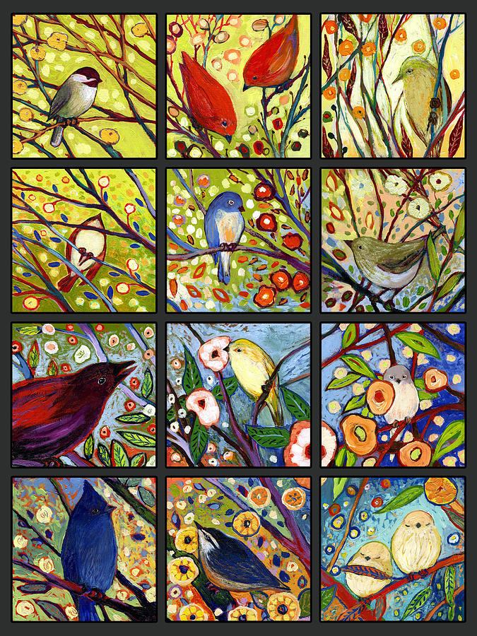 Bird Painting - The Neverending Story Set Of 12 A2 by Jennifer Lommers