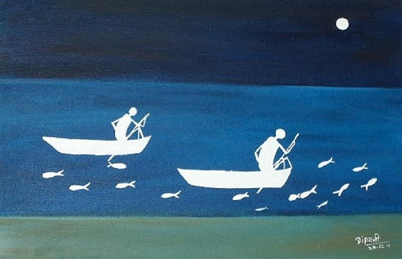 The Night In Warali Village Painting