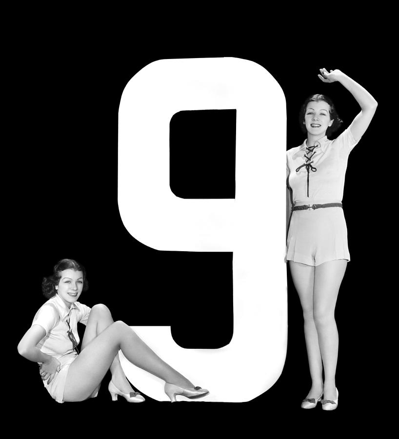 """The Number """"9"""" And Two Women Photograph"""