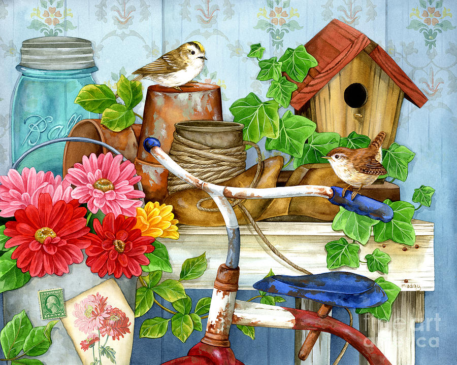 The Old Garden Shed Painting by Jane Maday
