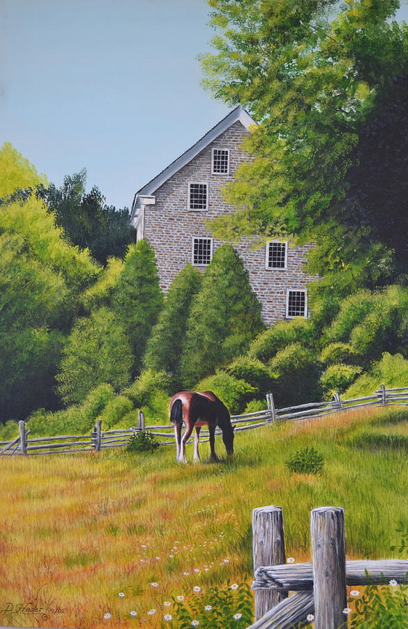 Mill Painting - The Old Grist Mill by Dave Hasler
