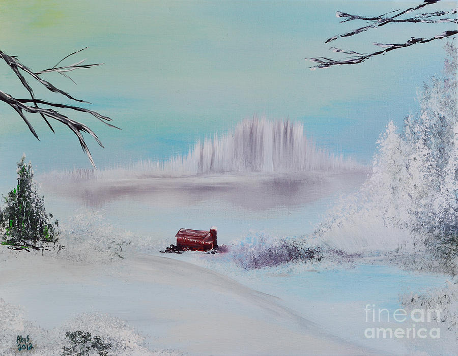 The Old Red Barn In Winter Painting  - The Old Red Barn In Winter Fine Art Print