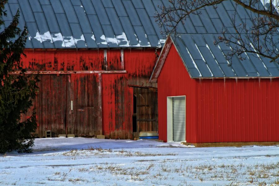 The Old Red Barn In Winter Photograph