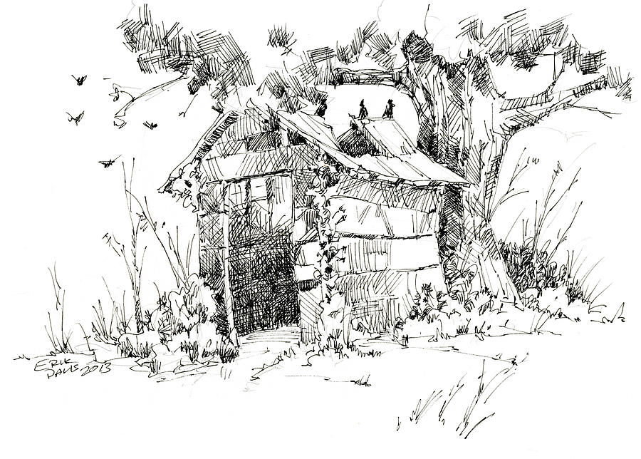 The Old Shed Drawing  - The Old Shed Fine Art Print