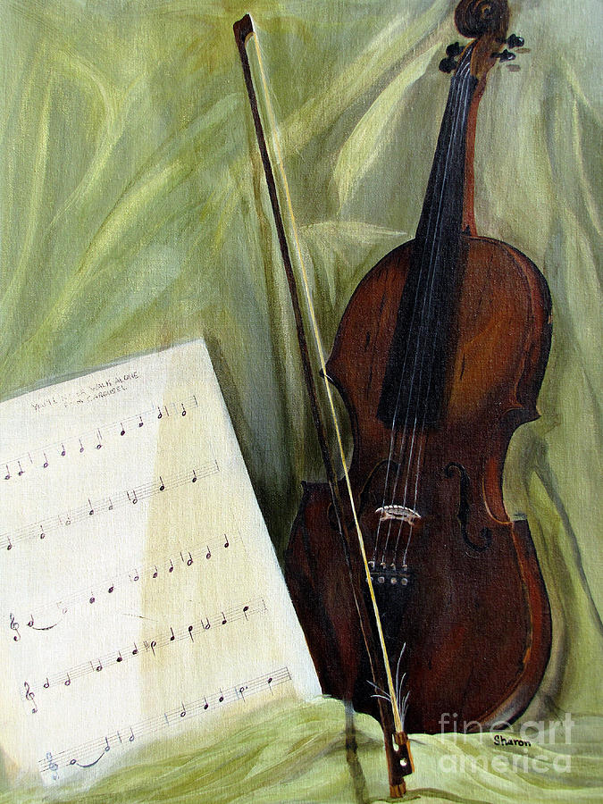 Violin Painting - The Old Violin by Sharon Burger