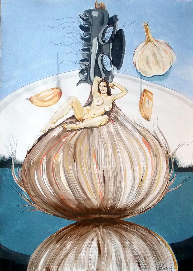 The Onion Maiden And Her Hair La Doncella Cebolla Y Su Cabello Painting  - The Onion Maiden And Her Hair La Doncella Cebolla Y Su Cabello Fine Art Print