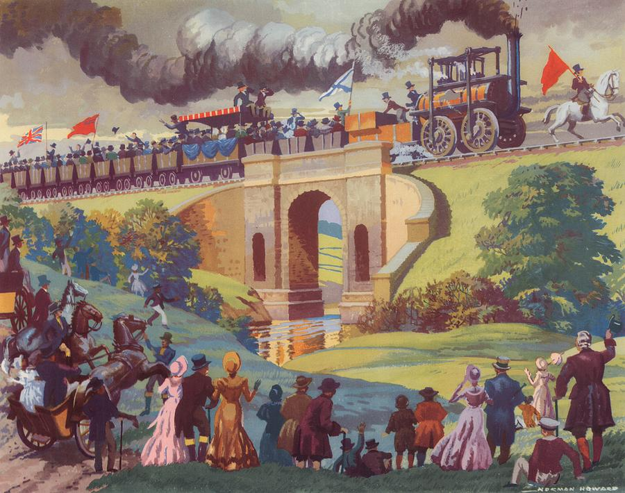 Opening Painting - The Opening Of The Stockton And Darlington Railway Macmillan Poster by Norman Howard