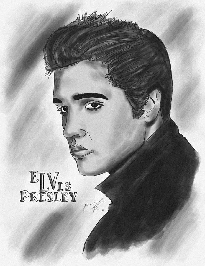 The Original Rockstar Elvis Presley Drawing  - The Original Rockstar Elvis Presley Fine Art Print