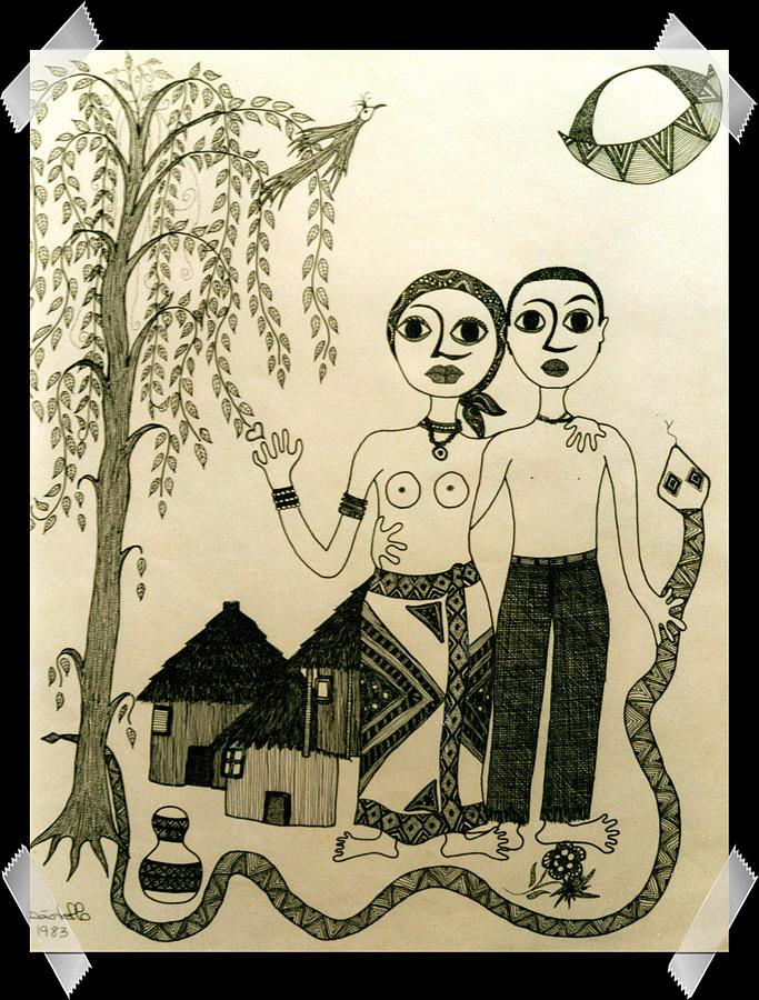 Ink Drawing Drawing - The Original Sin by Madalena Lobao-Tello