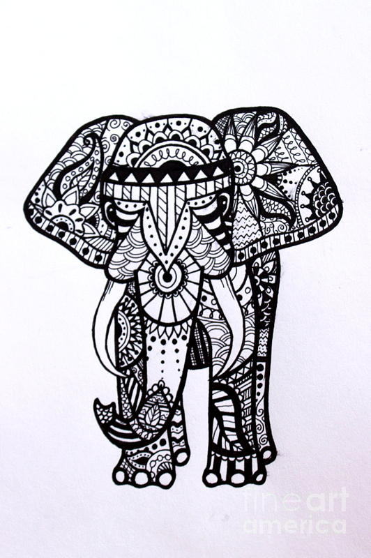 Henna Animals Coloring Pages : Henna drawings elephant makedes