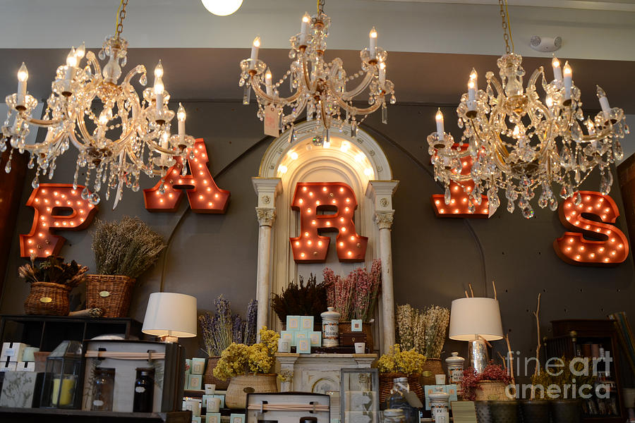 The Paris Market - Savannah Georgia Paris Market - Paris Macaron Shop - Parisian Chandelier Art Shop Photograph