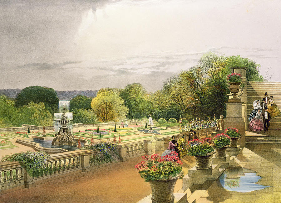 The parterre harewood house near leeds painting by e for Harewood house garden design