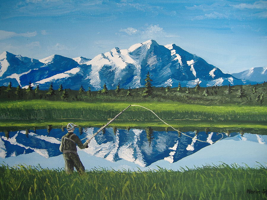 Fishing Painting - The Perfect Cast by Norm Starks