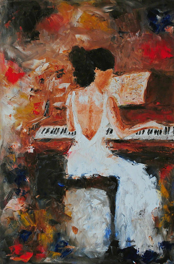 The pianist abstract impressionism music piano figure oil painting is
