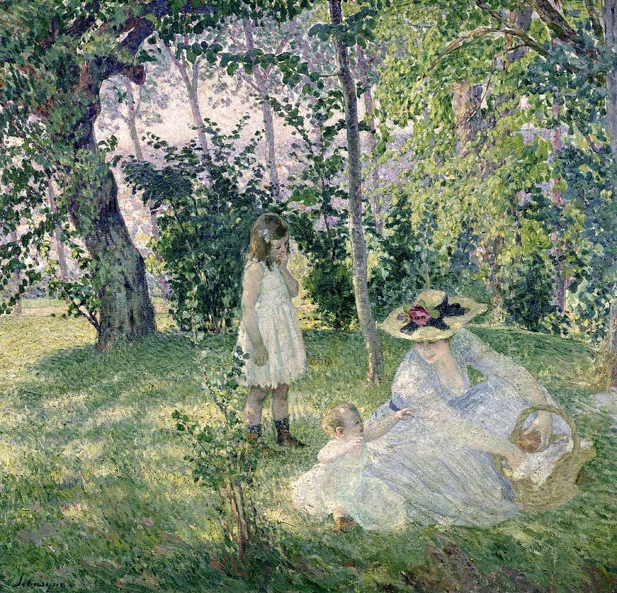 Basket; Straw Hat; Mother; Post-impressionist; Baby; Child; Trees; Shade; Idyll Painting - The Picnic by Henri Lebasque