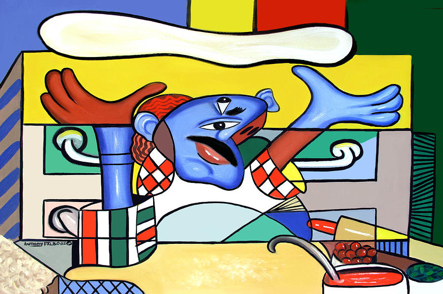 Pizza Chef Painting - The Pizza Guy by Anthony Falbo