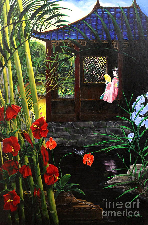 The Pond Garden Painting  - The Pond Garden Fine Art Print