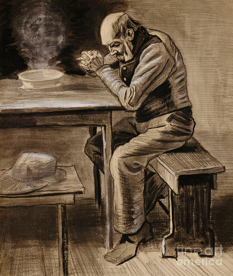 The Prayer By Vincent Van Gogh Drawing - The Prayer by Vincent Van Gogh