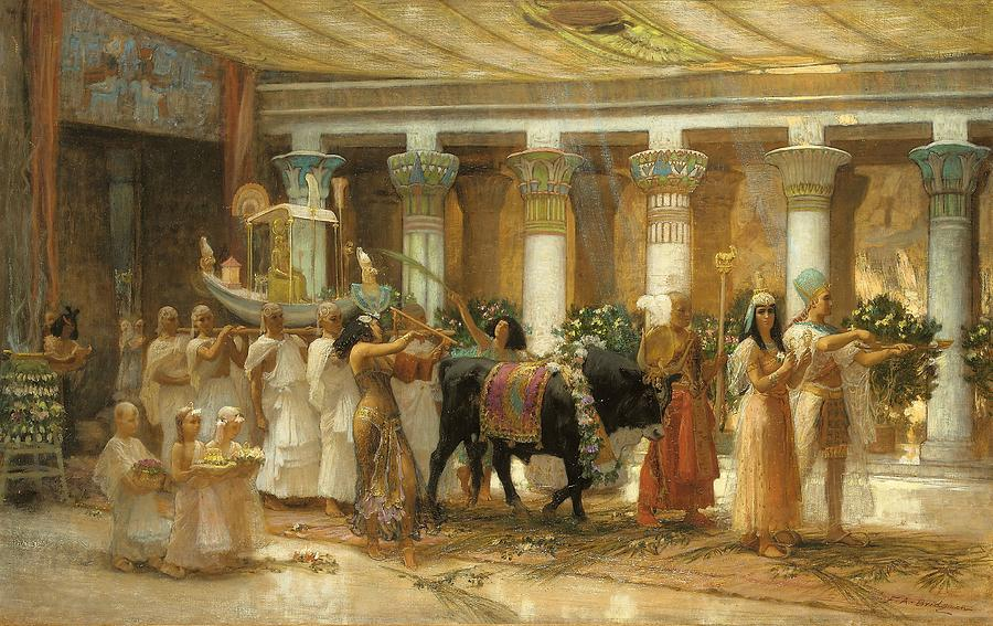 The procession of the sacred bull painting by frederick for Ancient egyptian mural paintings
