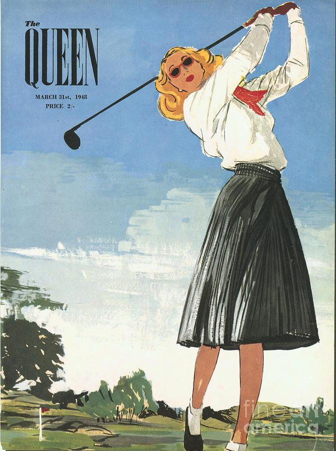 The Queen 1940s Uk Golf Womens Drawing  - The Queen 1940s Uk Golf Womens Fine Art Print