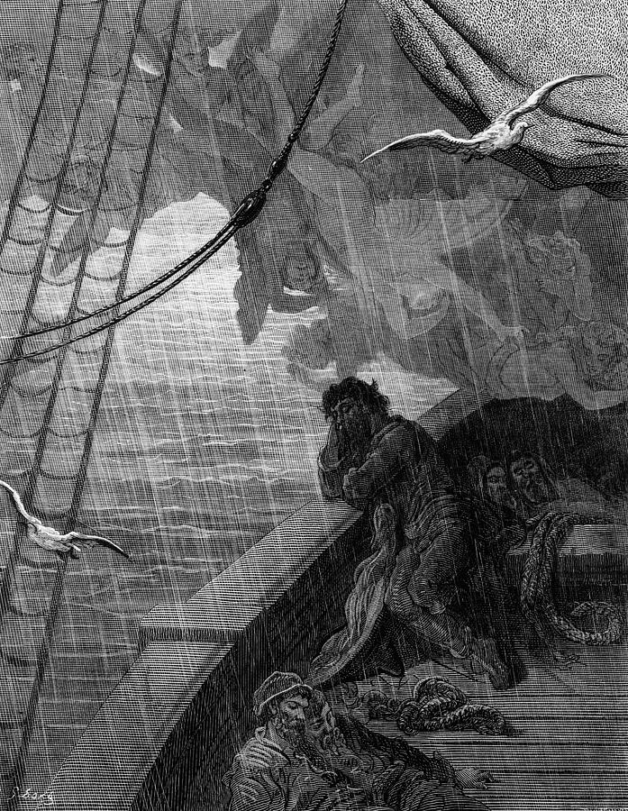 Raining; Sailors; Sailor; Vessel; Ship; Sea; Dore Drawing - The Rain Begins To Fall by Gustave Dore