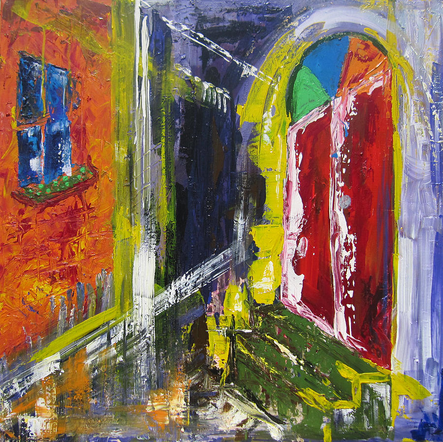 Contemporary Painting - The Red Door by Khalid Alzayani