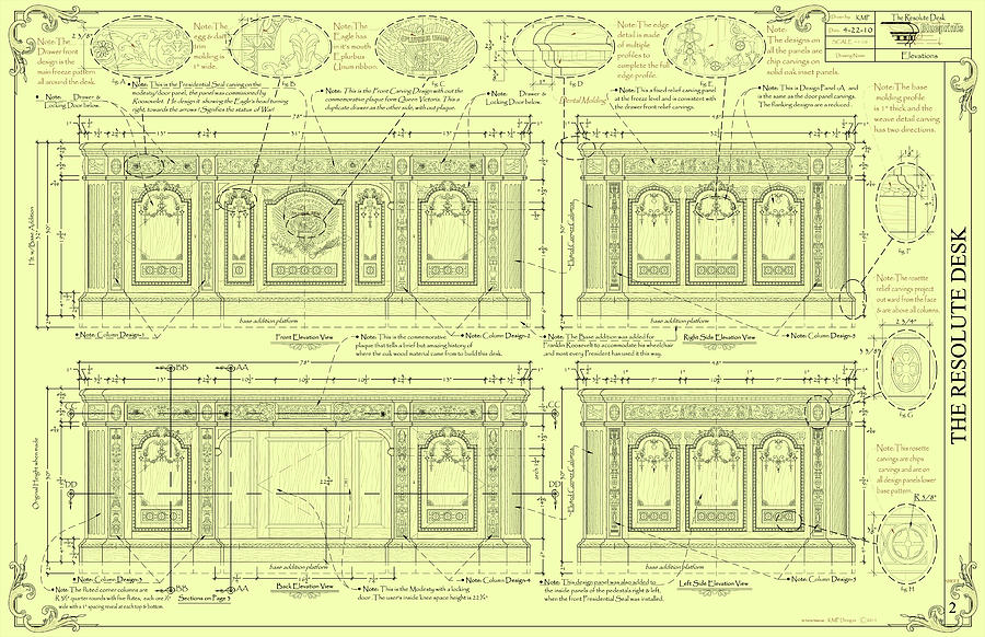 The Resolute Desk Blueprints - Soft Yellow Drawing