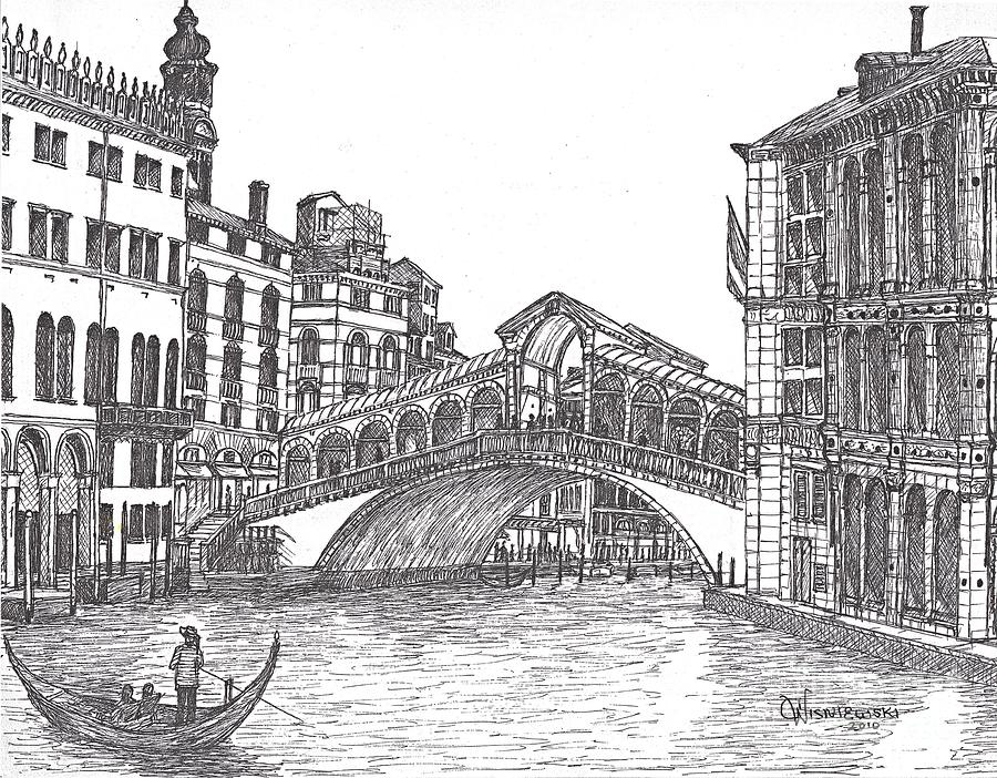 The Rialto Bridge Bw Painting