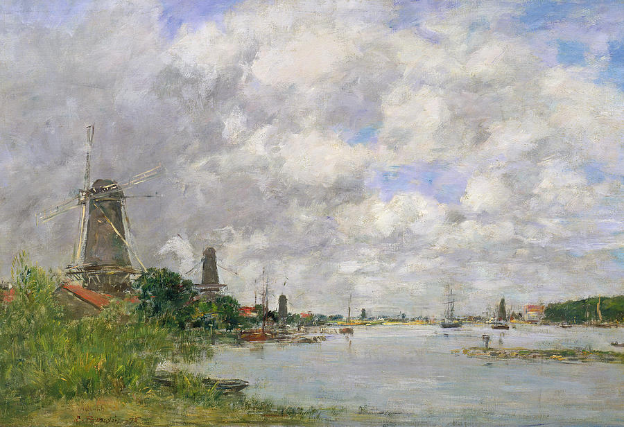 Windmills Painting - The River Meuse At Dordrecht by Eugene Louis Boudin