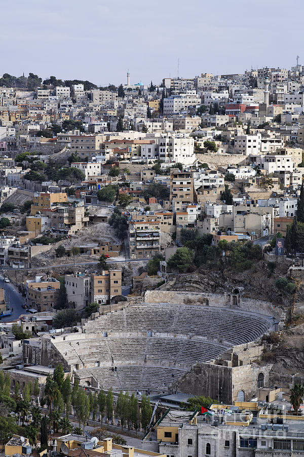 The Roman Theatre In The Middle Of The City Of Amman Jordan Photograph  - The Roman Theatre In The Middle Of The City Of Amman Jordan Fine Art Print