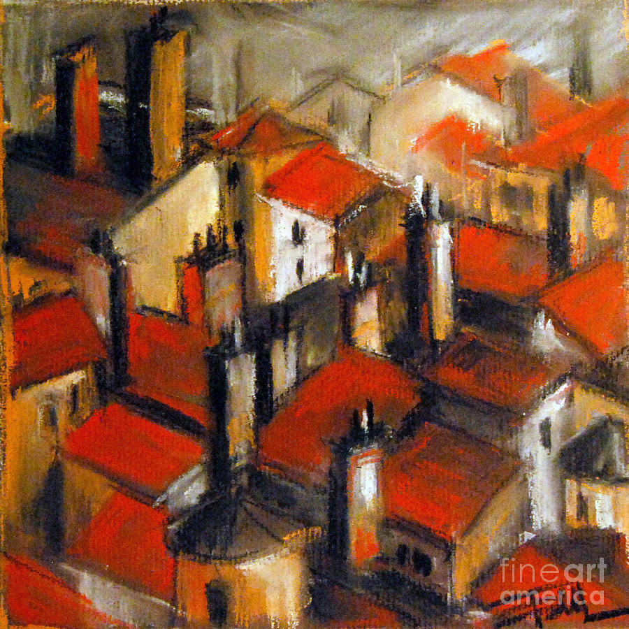 The Roofs Of Lyon Pastel  - The Roofs Of Lyon Fine Art Print