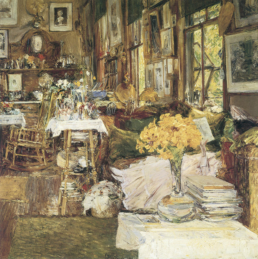 Childe Hassam Painting - The Room Of Flowers by Childe Hassam