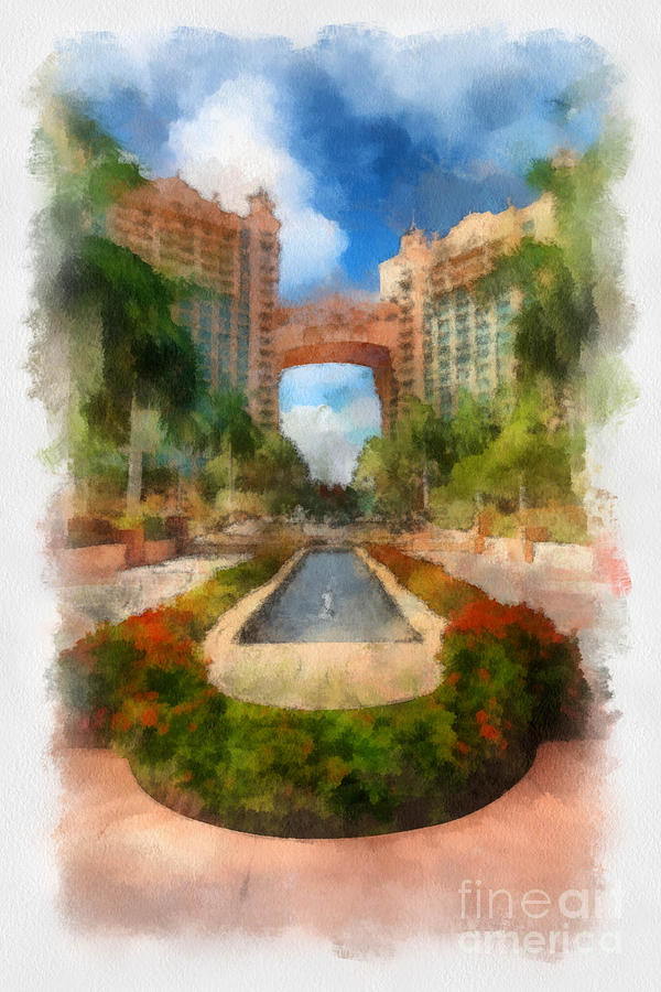The Royal Towers Atlantis Resort Digital Art  - The Royal Towers Atlantis Resort Fine Art Print