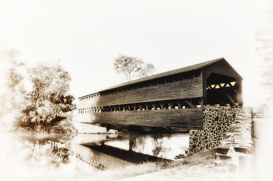 The Sachs Covered Bridge Near Gettysburg In Sepia Photograph