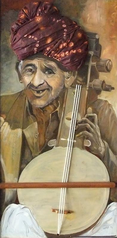 Sarangi Painting - The Sarangi Player by Madhusudan Garud