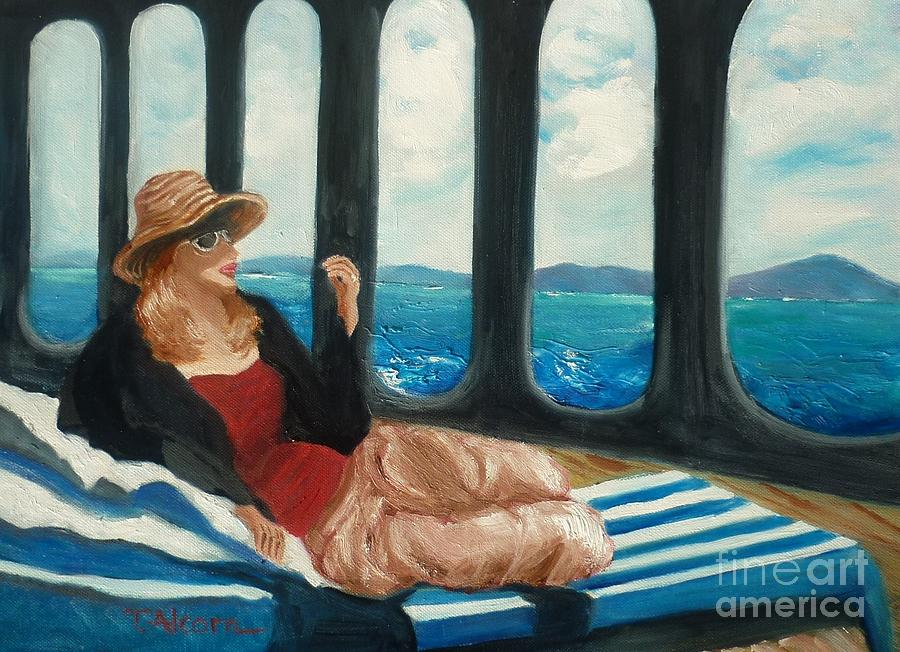 Cruise Painting - The Sea Princess - Original Sold by Therese Alcorn
