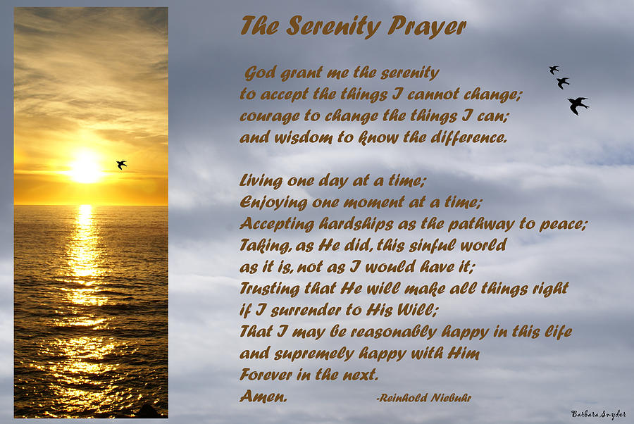 The Serenity Prayer Digital Art  - The Serenity Prayer Fine Art Print