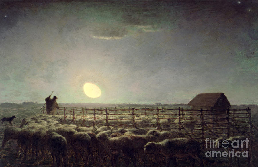 The Sheepfold   Moonlight Painting