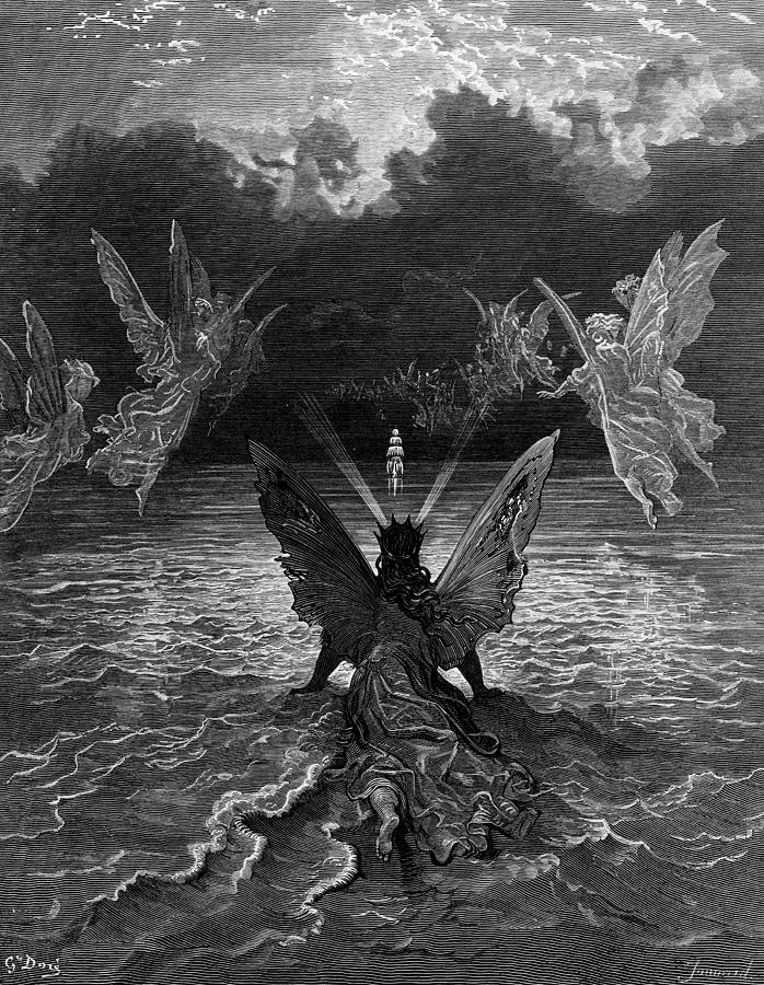 Miracle; Vessel; Sea; Angels; Host; Troop; Band; Dore Drawing - The Ship Continues To Sail Miraculously Moved By A Troupe Of Angelic Spirits by Gustave Dore