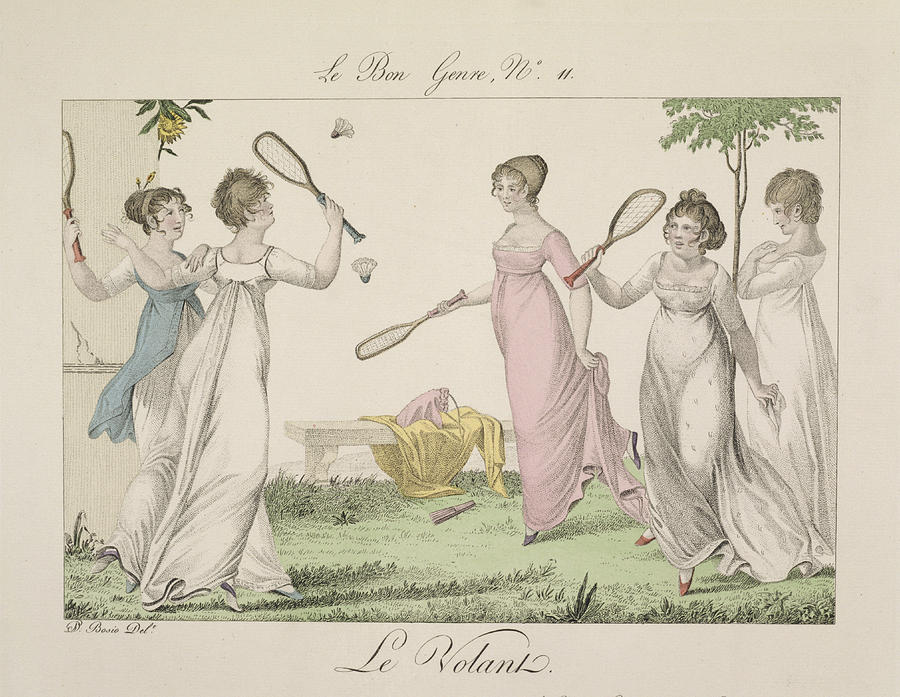 Playing Drawing - The Shuttlecock, Plate 11 From Le Bon by French School